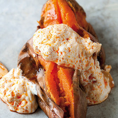 Baked sweet potatoes with  atchar yoghurt