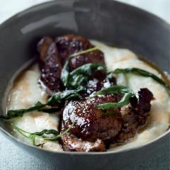 Balsamic-glazed lamb steak with cauliflower and Gorgonzola purée