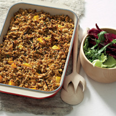 Barley, lentil and butternut casserole