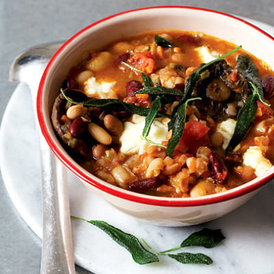 Bean hot pot with gorgonzola and fresh sage