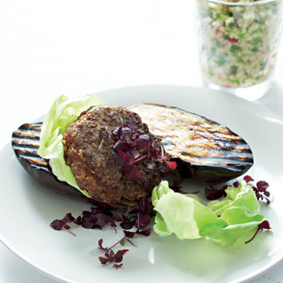 Beef-and-brinjal burgers with cucumber and mint tabbouleh