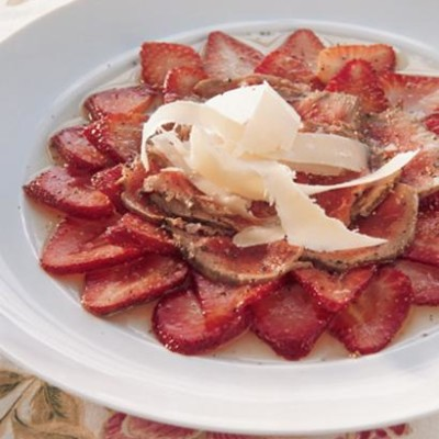 Beef and strawberry carpaccio with shaved Parmesan