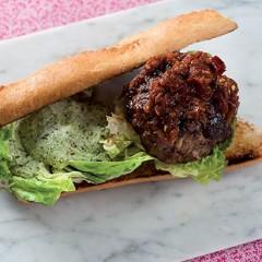 Beef burger with smoked paprika relish