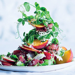 Beef carpaccio with nectarine salad and English mustard dressing