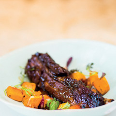 Beer and ribs with roast butternut salad