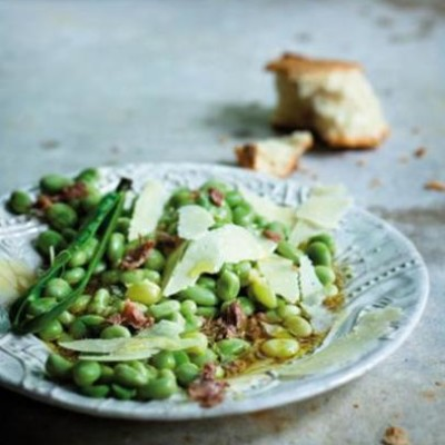 Blanched broad beans glossed in lemon-anchovy vinaigrette