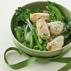 Blanched tender greens with chicken breasts in a coconut and-wasabi cream