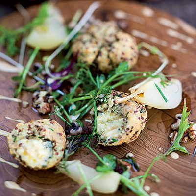 Blue cheese, bulgur, quinoa and herb croquettes with pickled pears and bean and pecan nut salsa