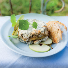 Blue Tower terrine with caramelised apples