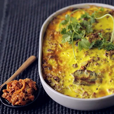Bobotie with brown rice and lentils
