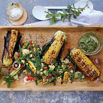 Braaied corn salad with basil pesto dressing