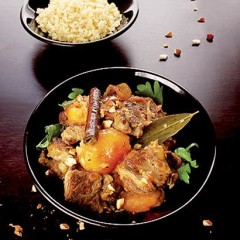 Braised almond and apricot lamb with bulgur wheat pilau
