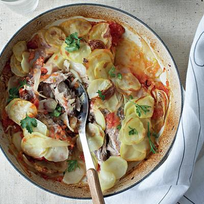 Braised fish and potato bake