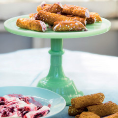 Brandy snaps with berry cream