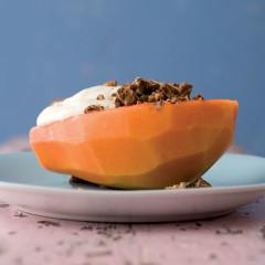 Breakfast papaya and chocolate walnuts