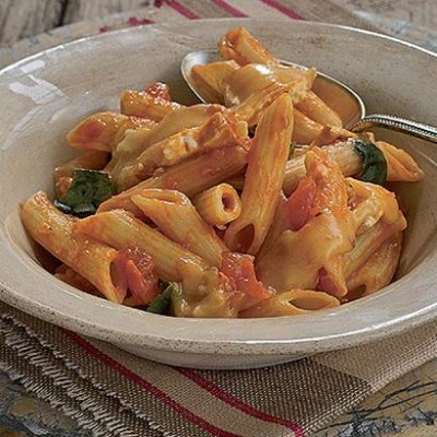 Brie, basil and sun-dried tomato pasta sauce