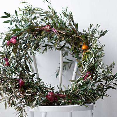Bright beetroot and olive branch Christmas wreath