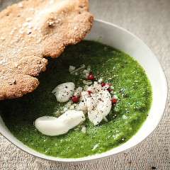 Broccoli soup with olive oil rye flatbreads