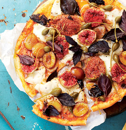 buffalo mozzarella fig and prune pizza with purple basil and caper berries woolworths taste. Black Bedroom Furniture Sets. Home Design Ideas