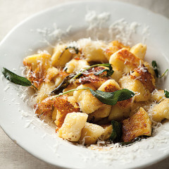 Burnt butter and sage pan-fried gnocchi with Parmesan