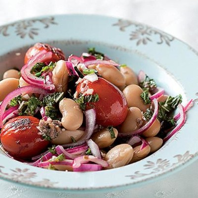 Butter bean and anchovy mint salad