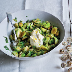 Buttered Brussels sprouts with creme fraiche