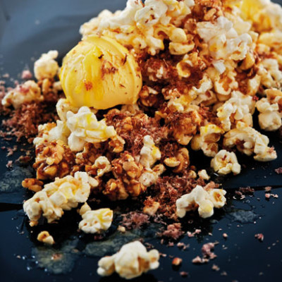 Buttered popcorn flavoured with biltong and peanut brittle