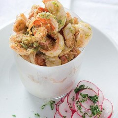 Butterflied lemon-and-lime prawns