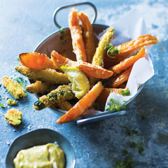 Butternut and baby marrow chips with anchovy aioli