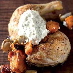 Butternut chicken with Horseradish creme fraiche
