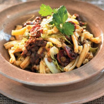 Cabbage pasta with lentils and chorizo
