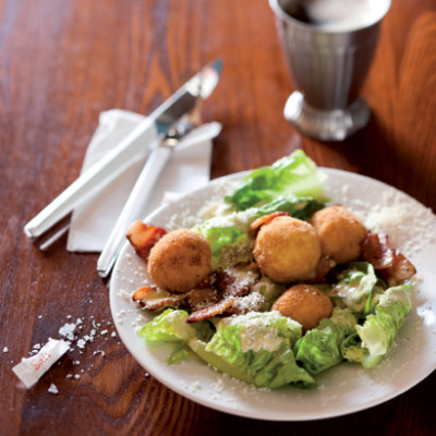 Caesar salad with ricotta-anchovy bombes