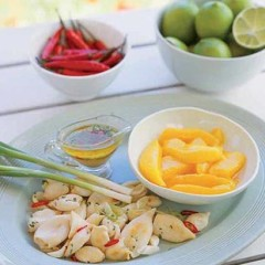 Calamari and mango salad with chilli and lime dressing