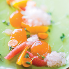 Campari-and-orange jellies with grapefruit granita