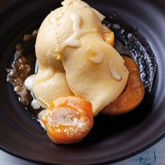 Caramel mousse with poached apricots and salted butter