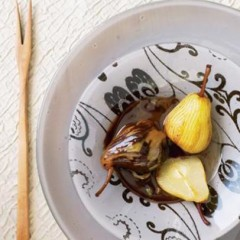 Cardamom scented organic pears with organic coffee and chocolate sauce