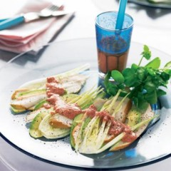 Carpaccio of smoked chicken with avocado and fennel and a strawberry-and-citrus dressing