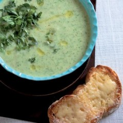 Celeriac and potato soup with grilled cheese croutons