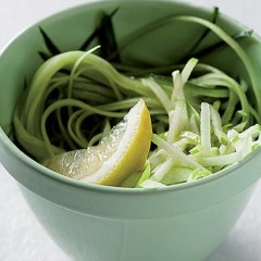 Celery, apple and cucumber Asian slaw