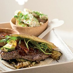 Char-grilled steak and rocket wraps