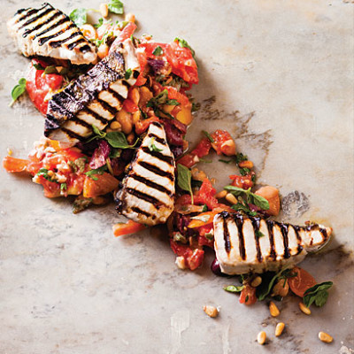 Chargrilled yellowtail with exotic tomato and butter bean salad