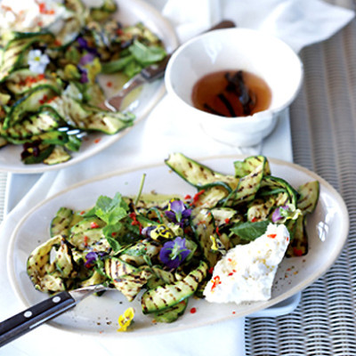 Charred baby marrow and chilli salad