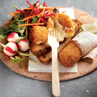 Cheese croquettes with beetroot and carrot salad