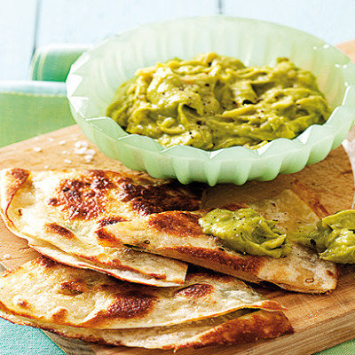 Cheesy quesadillas with guacamole
