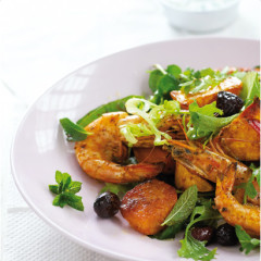 Chermoula and coconut queen-prawn salad with sweet potatoes