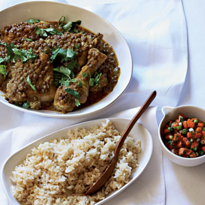 Chicken and lentil curry with papaya salsa