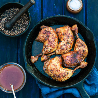Chicken baked in a mustard-and-honey sauce