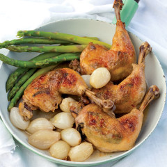 Chicken braised in apple cider with tarragon