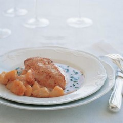 Chicken breast with a cream and port sauce