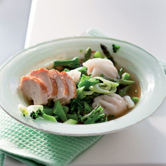 Chicken broth with summer greens